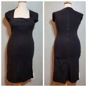 TATYANA Black Wiggle Dress w/ Square Neckline NWOT
